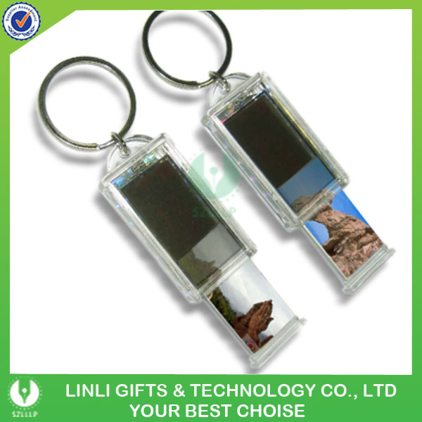 Can Put Paper In It By Youself Acrylic Solar LCD Light Keychain