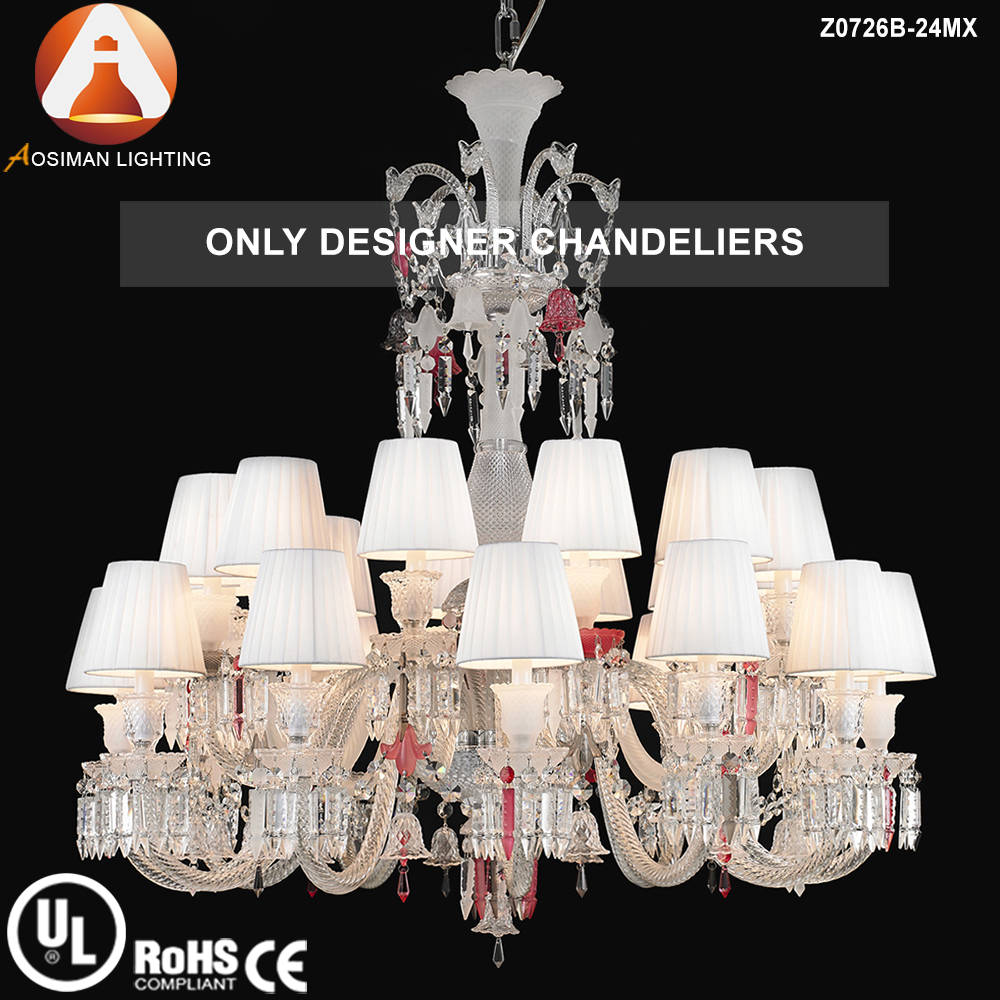 24 Light Baccarat Style Crystal Chandelier for Interior Decoration