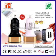 2015 best selling dual usb car charger, cell phone 3.1A car charger wholesale, new design dual USB car charger with switch butto