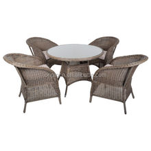 Retro old style restaurant dinner wicker ratan chairs furniture outdoor dining table set