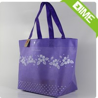 Handled Style and Custom Foldable Purple Flowers Non Woven Bag