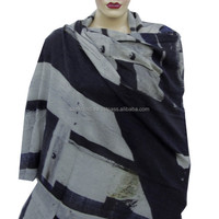 A Silent Moment Picture Printed Wool Silk Blended Wrap Scarf, Shawls