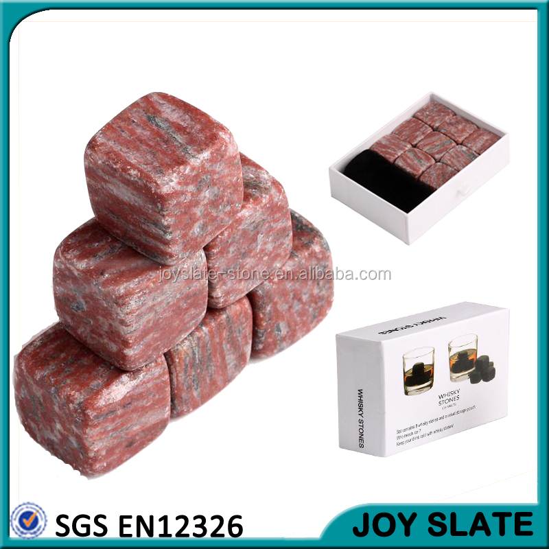 Set of 9pcs 20*20*20mm cube shape red marble ice stone Whisky Whiskey Stones
