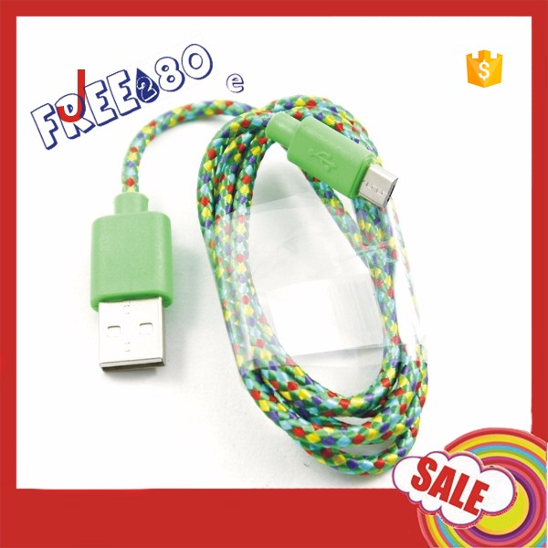 2016 New Arrival RoHS 3ft/1m Nylon 7 pin Micro USB charger Cable for Smart Moible Phone