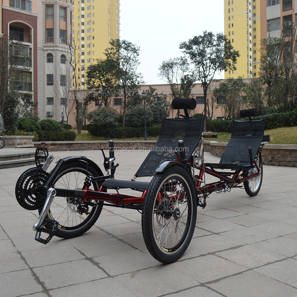 500Watt Electric Pedal Assistant 3 Wheeled Tandem Recumbent Trikes