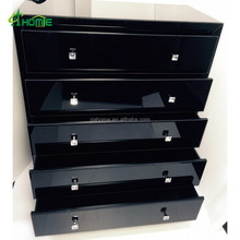 Pure black fashion mirrored tall boy chest with 5 drawers