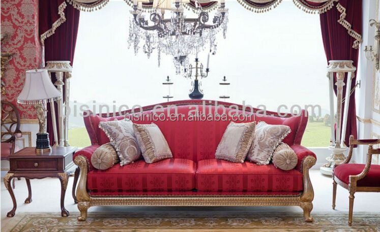 Romantic Windsor Settee Three Seater Sofa, Sexy Red Sofa Couch, Noble & Elegant Living Room Sofa Seat