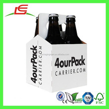 E0032 Shenzhen Supplier Cheap 4 Bottles Cardboard Beer Carrier With Logo Printed