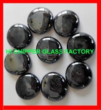 Black fire pit glass nugget with round shape