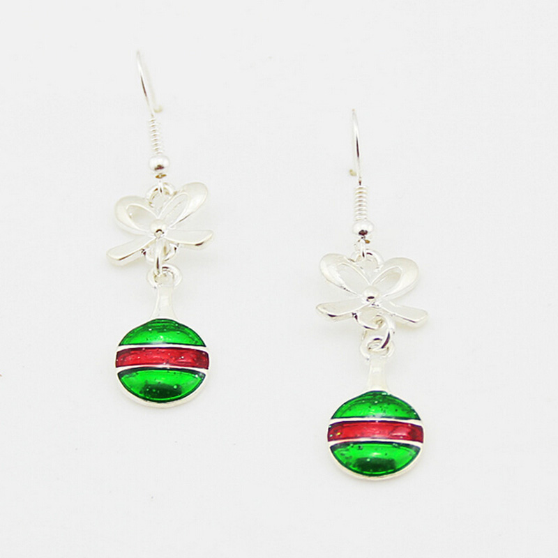 fashion jewelry earrings 2017 christmas silver enamel round drop earrings women
