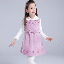 Kids Autumn Clothes Girl Child Frocks Pink Printed Dress For Kids