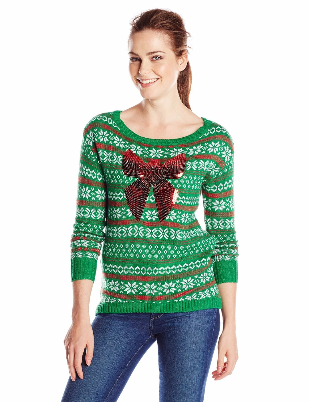 Women Green Sweater Red Sequin Pattern Christmas Jumpers
