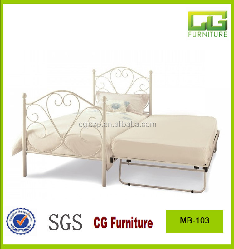iron metal bed with under bed frame with wooden slats bed base