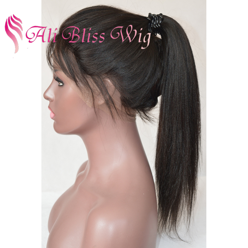 Brazilian High Remy Natural Yaki Straight Elastic Band 100% Human Hair Ponytail Full Lace Wigs with Baby Hair for Black Women