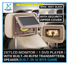 Factory price headrest car dvd with zipper cover, tv, dvd,wireless game