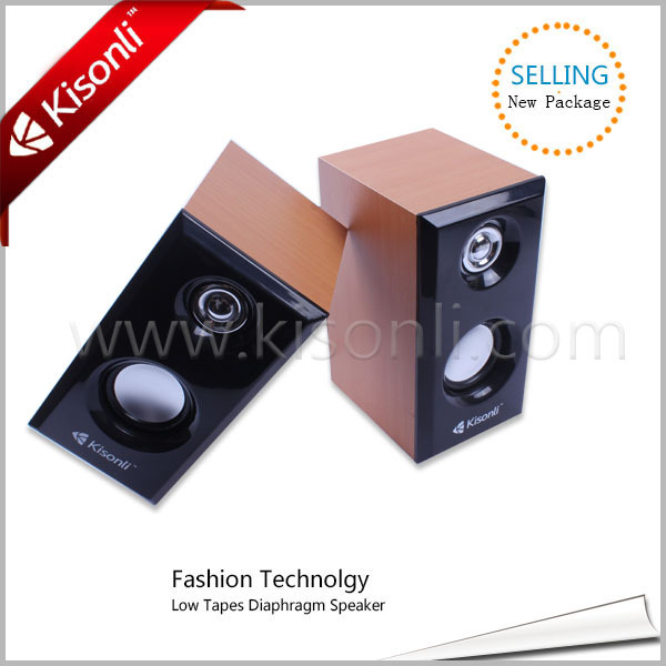 2.0 USB Stereo Speaker Wooden case with 100-20KHz Frequency Range