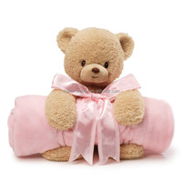 Custom cute cotton baby swaddle blanket Pretty plush soft pink teddy bear polar coral fleece baby blanket