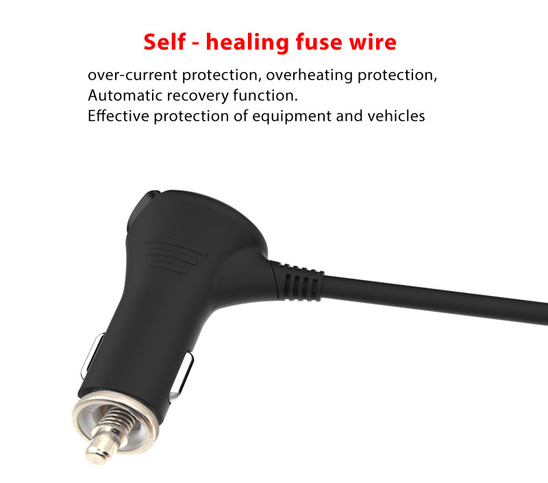 2017 hot sales product three socket with four USB long cable car charger