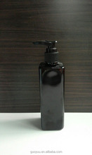 250ml empty black shiny color square PET noble shampoo bottle