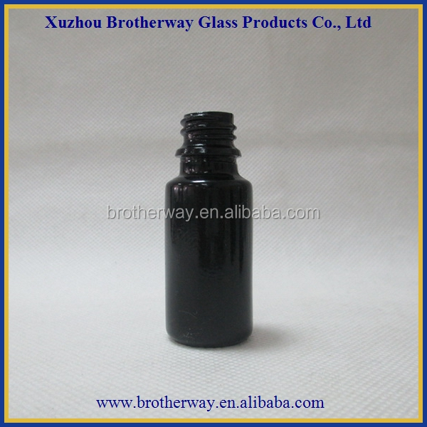 wholesale 20ml tinted black glass dropper cap for cosmetic use