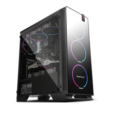 Hot China cool products smart intelligent design aluminium pc case micro atx with RGB fan and transparent style