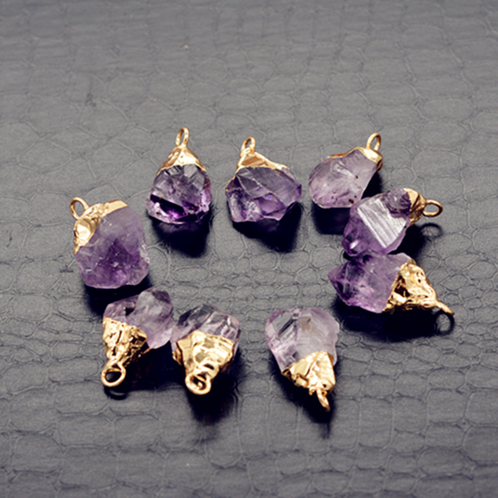 Raw Amethyst pendant gold plated Cap crystal druzy for necklace