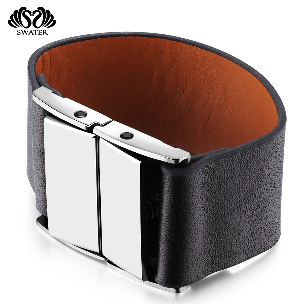 Hot Selling 2017 Engraved Charm Mens Black Faux Leather Bracelet