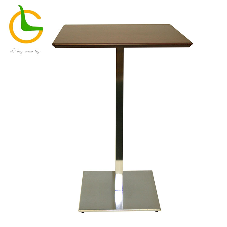 Square stainless steel leg high bar table