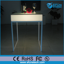 remote control rgb color restaurant square high top bar tables with led lights