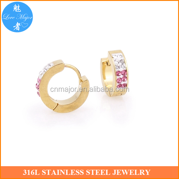 Lovely Pink Crystal Gold Plated Earring Of Stainless Steel RHE-204