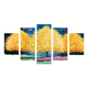 Three golden tree drawing art painting 3d 5-piece wall art canvas painting