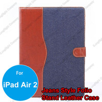 Fashion Jean Lines Magnetic Snap Wallet Flip Leather With Stand Hard Cover Case for iPad Air 2