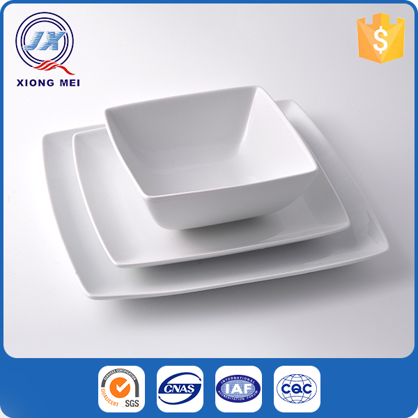 Cheap price square shaped porcelain household china dinner set