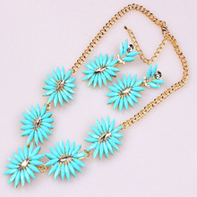 2014 fashion high quality personality horse eye shape five flower women jewelry necklace set
