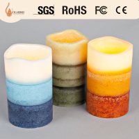 layered color glowing flameless candle