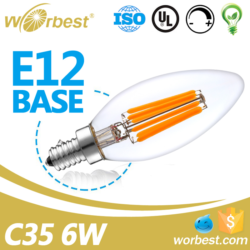 Worbest Clear Candle Shape E12 Base 120V 6W Best Price Led Bulb Light C35 Dimmable