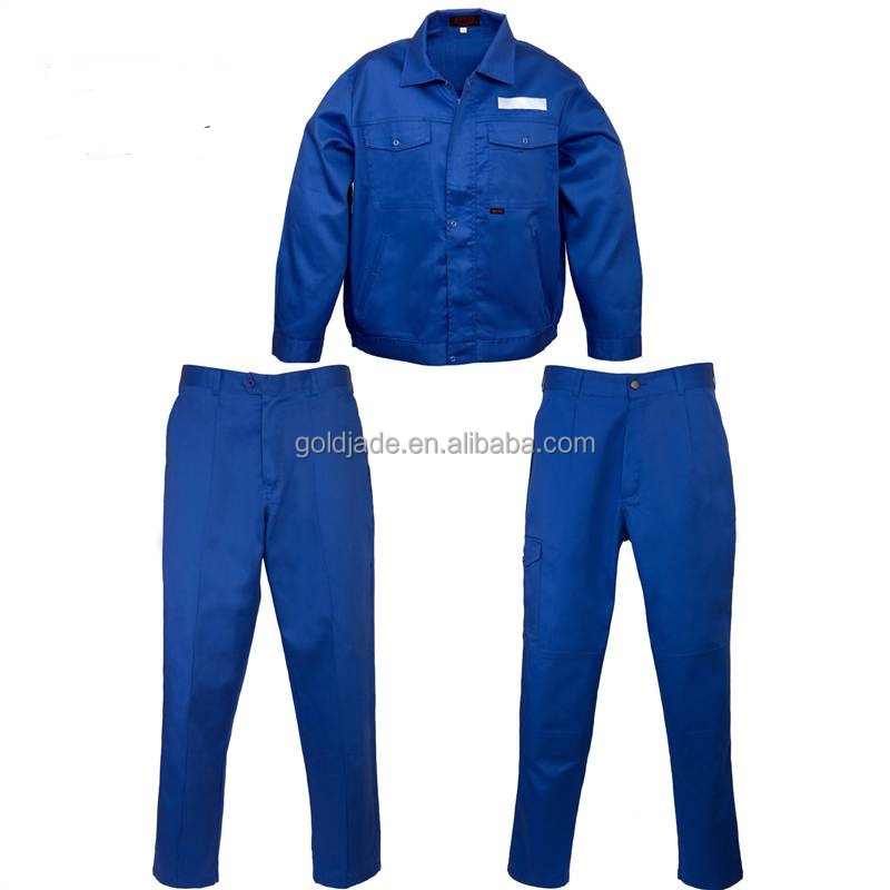 OEM Polycotton Antistatic Blue Workwear Suit Work Jacket And Work Pants