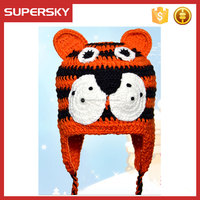 H-132 Cute handmade colorful tigger animal crochet pattern hat free knitting patterns animal hats