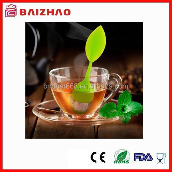 Food Grade Silicone Leaf shape tea infuser - Stainless Steel Strainer Filter with drip tray(green)
