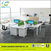 White call center furniture l shaped 4 person workstation partitions