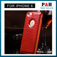 For iPhone 6 Aluminum metal bumper leather cover Case