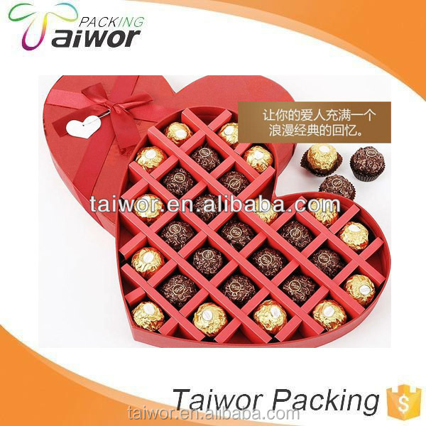 wholesale red heart shape Romantic Cardboard Chocolate candy packaging box with ribbon