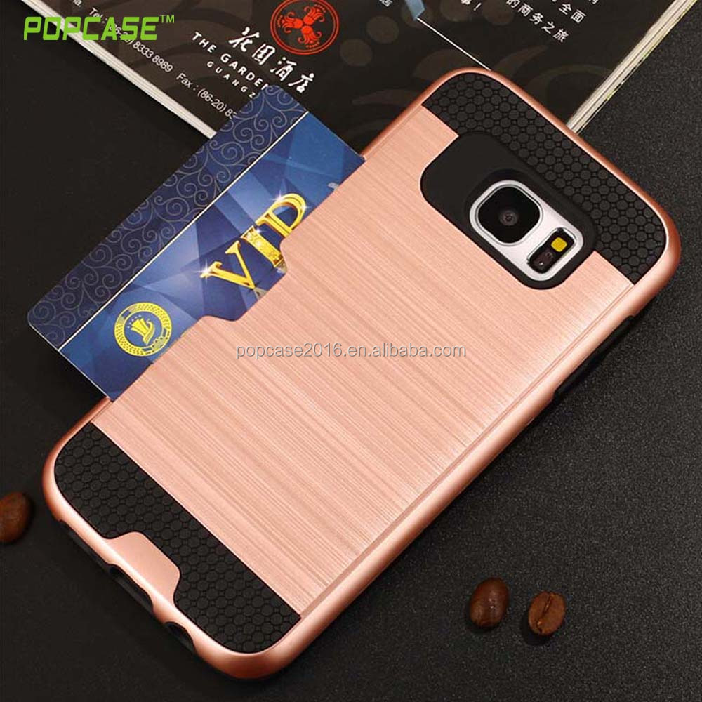 Best quality Hamburg combo phone case for Samsung S7 edge with credit card cash holder wallet