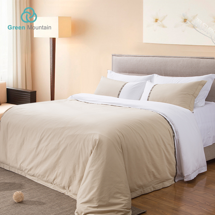 Green Mountain luxury star hotel Bedding set customized Size 300T Sateen Cotton Jacquard linen bed