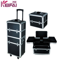 Hardshell Black Stripes Patterns Professional Rolling Makeup Case With Drawers
