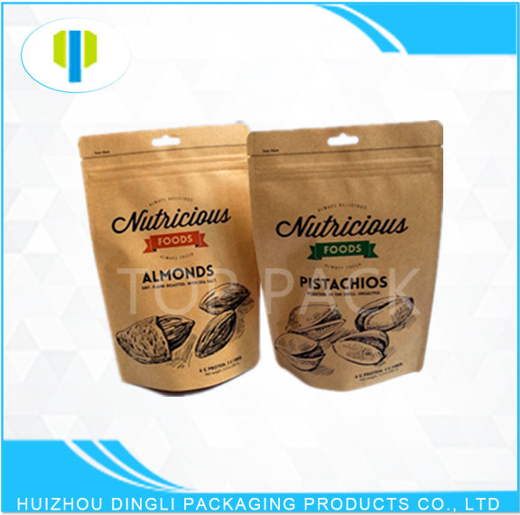 Custom printed laminated stand up zipper kraft paper pouch with hole