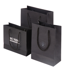 Black square bottom paper bag large paper carrier bag with white logo