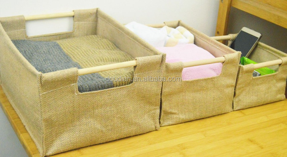 Jute design sundries organizer with stick 2sizes laundry basket hot sale home container