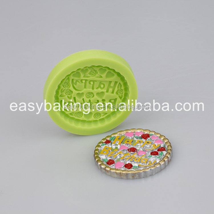 Circular Shape Happy Birthday Silicone Molds For Microwave Cake
