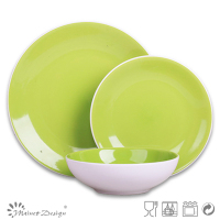green dinner set ceramic/3 place setting bicolor dinner set